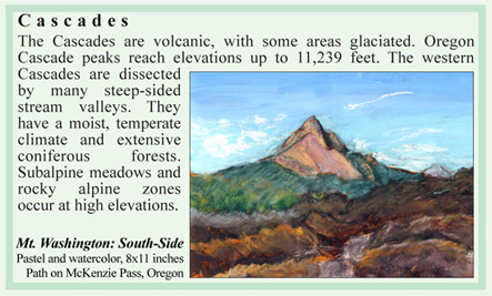 Oregon Cascade Mountain range ecoregion art & science by M. Frances Stilwell