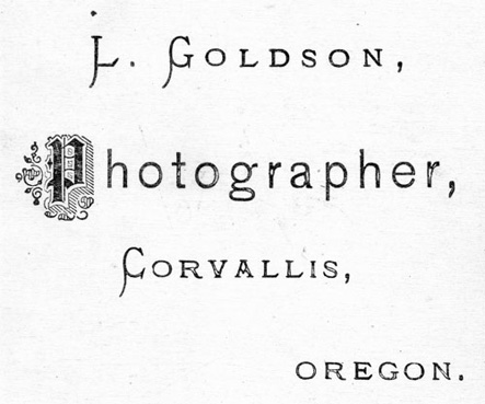L. Goldson, Photographer, Corvallis, Oregon