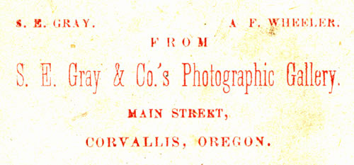 Sam E. Gray and A. F. Wheeler Oregon photograpers