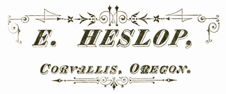 E. Heslop, Corvallis, 19th century Oregon photographer