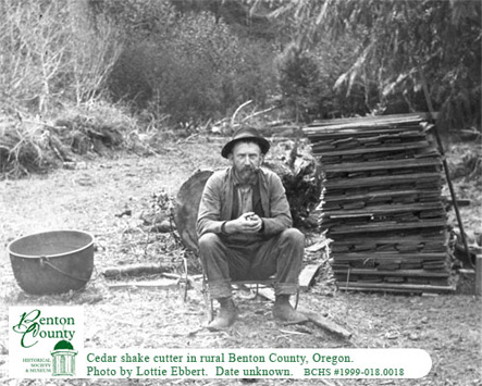 Oregon cedar shake cutter photo by Lottie Ebbert, Benton County, Oregon