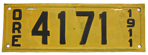 1911 Oregon License Plate