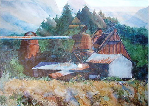 Watercolor Painting of Wren, Oregon, Sawmill by Hank Fleck
