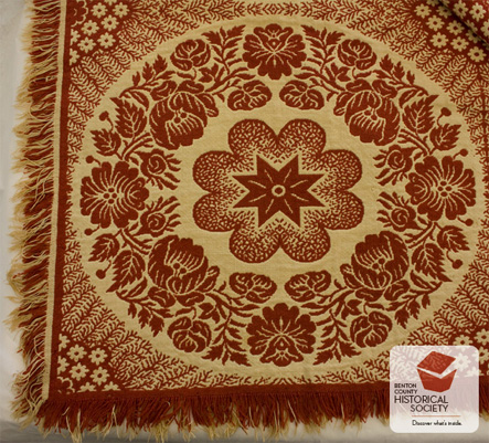 Early 19th century Rose Wreath woven coverlet