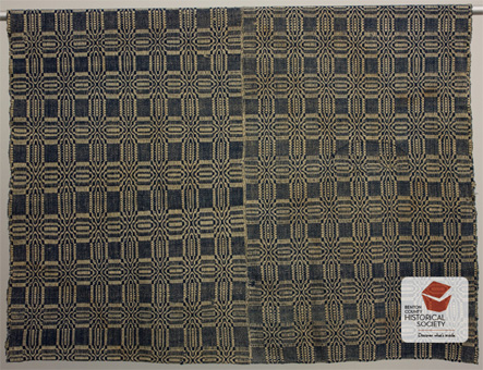 Overshot coverlet brought from Missouri to Oregon, 1863