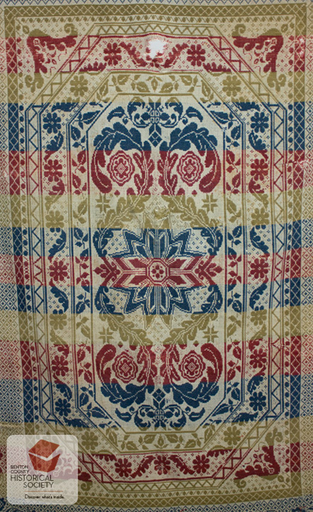 1869 woven jacquard coverlet wedding present