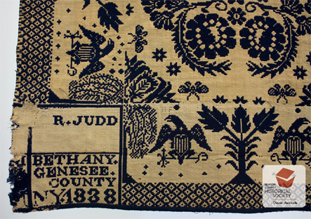 Gennesee County, NY, 19th century American coverlet bedspread