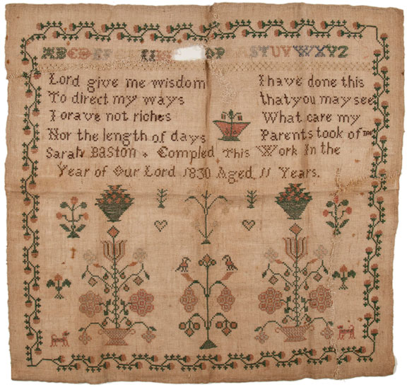 Early 19th century English sampler in museum collection, USA