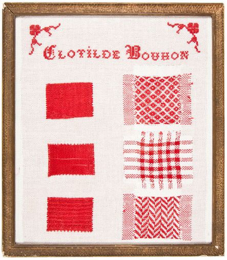 Clotilde Bouhon red and white French needlework sampler