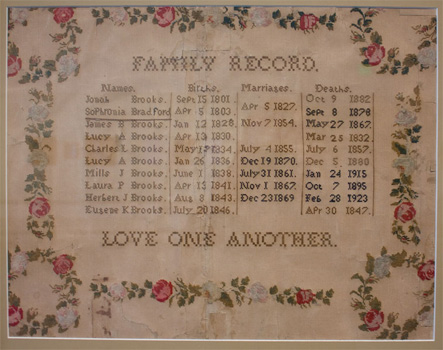 Family Record Sampler stitched on paper