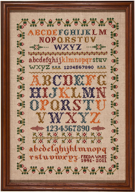 American alphabet sampler by Freda Vars Oregon USA