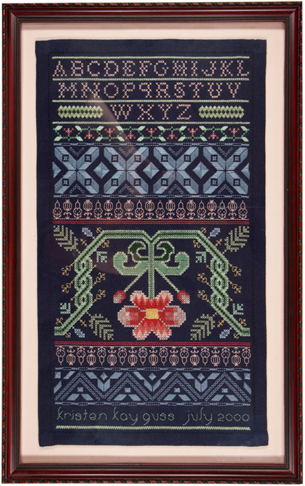 Midnight Sonata stitched sampler 2000