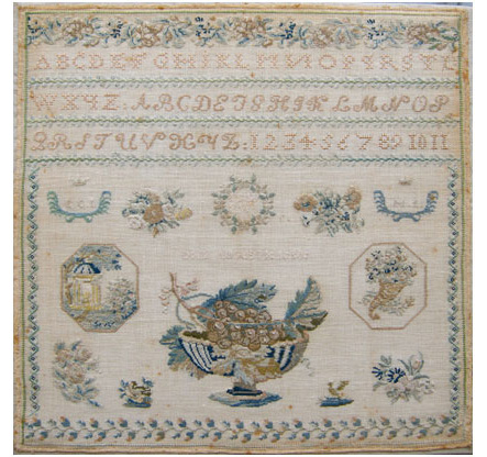 Sweeden needlework sampler 1830 Inberg family