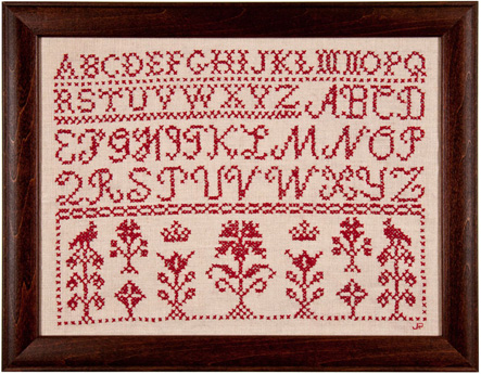Cross stitch sampler by Judith Herendeen Roberts 2005