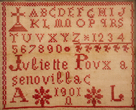 1901 French cross stitch sampler in private collection
