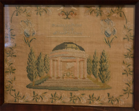 19th century Pennsylvania Quaker cross stitch sampler