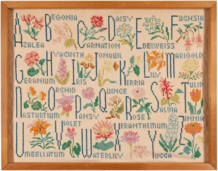 Flower alphabet American sampler by Merrie Ziady