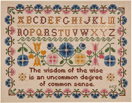 Wisdom of the Wise cross stitch sampler