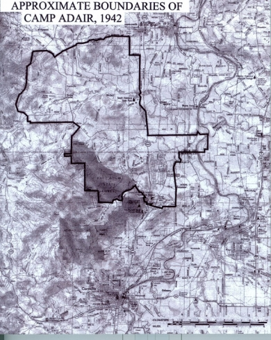 Approximate boundaries of Camp Adair, 1942