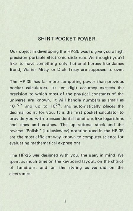 HP 35 Manual Introduction