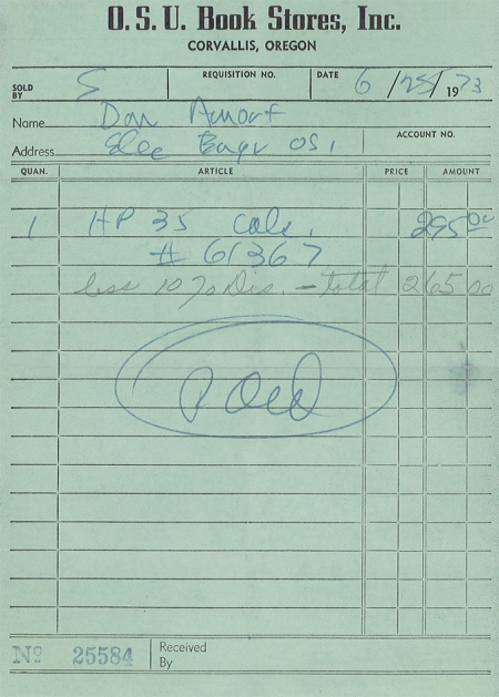 HP 35 Calculator Sales Receipt