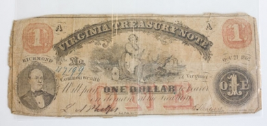 Commonwealth of Virginia Confederate currency