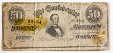 Confederate U.S. Fifty dollar currency