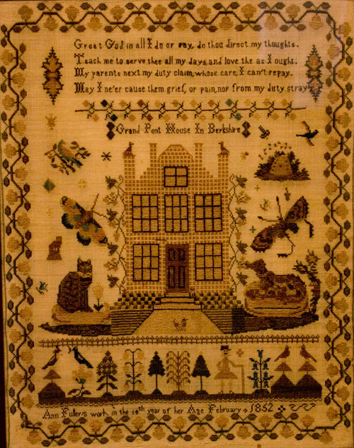 Mid-19th century needlework stitched sampler