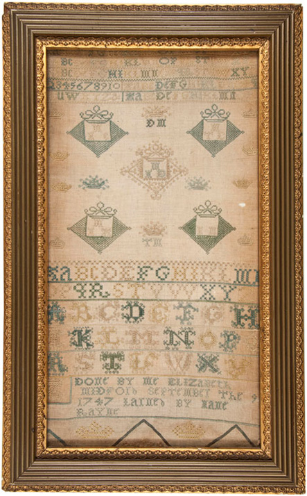 18th century English stitched sampler