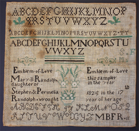 Stitched Quaker sampler in museum collection, Oregon, USA
