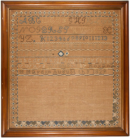 19th c. American Family Record stitched sampler
